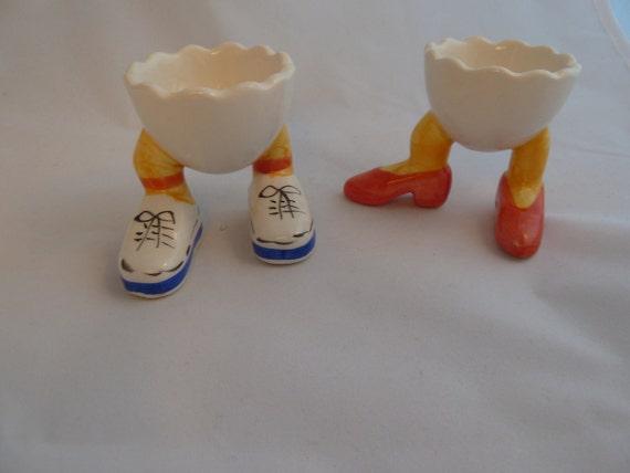 two vintage ceramic egg holder