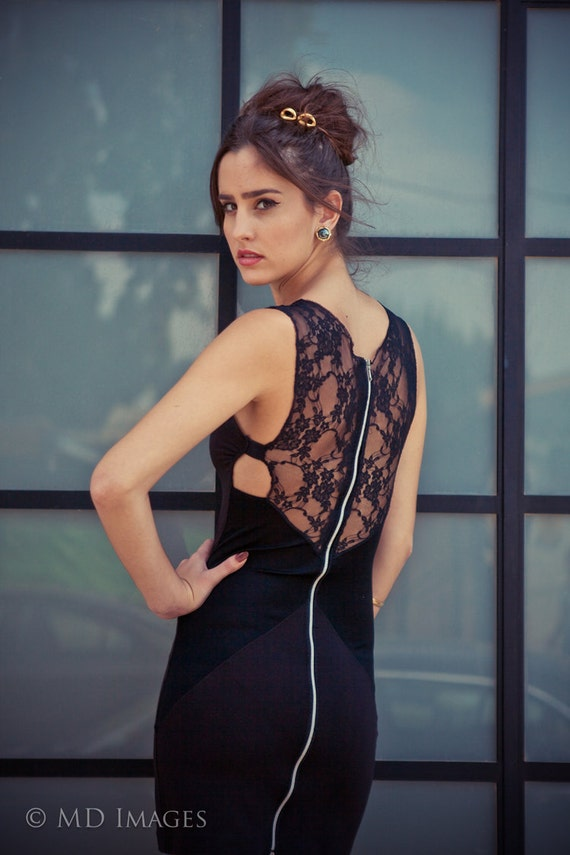 10% DISCOUNT-Black mini dress with lace