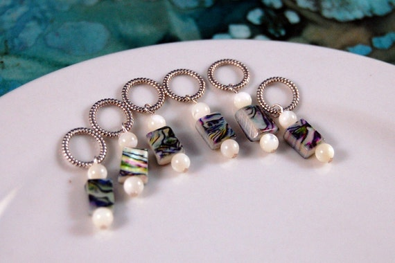 Sock Stitch Markers Shell-like with White