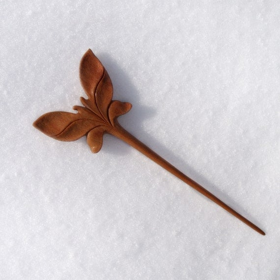 Wooden hair stick wood carving mahogany butterfly