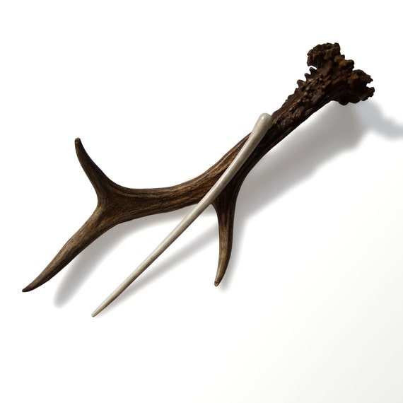 Hair Stick Generous Deer Tribal Hair Fork Deer Antler Carving Hairpin Hair Accessory Suitable and for Men MariyaArts