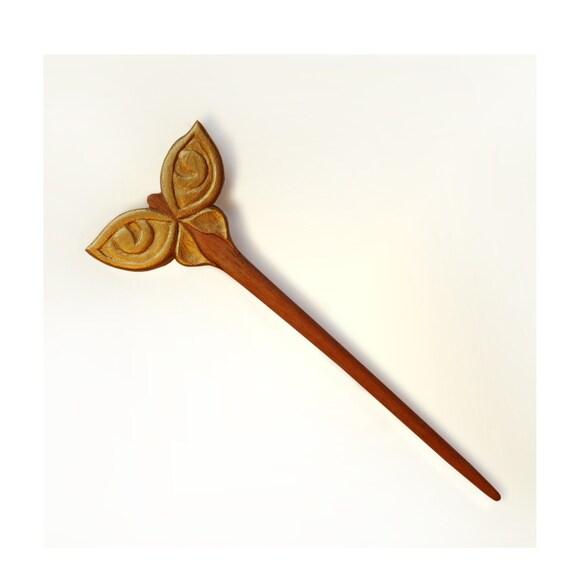 "Wooden Hair Stick Wood Carving Mahogany ""Butterfly a cat's eye""  MariyaArts"