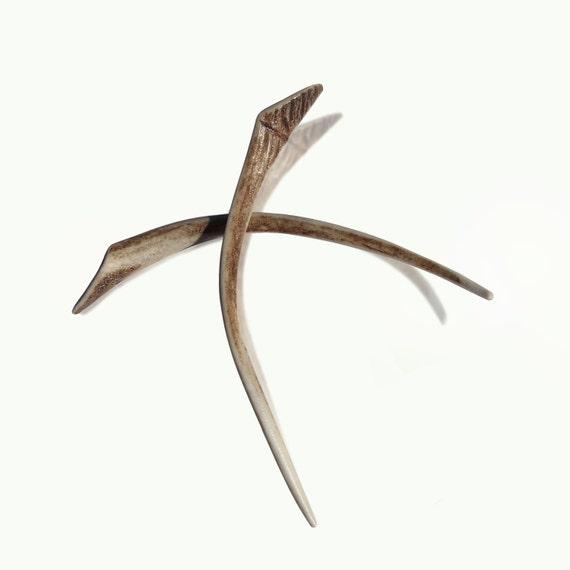 Hair sticks, fork, deer antler, Eco friendly, hair styling tool, bone carving, hairpin, natural hair accessory, handmade by MariyaArts