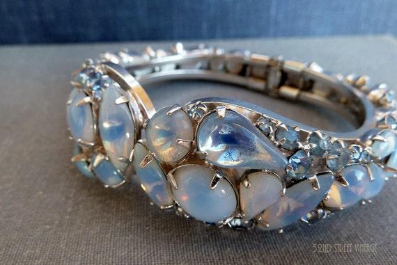 Vintage Rhinestone clamper bracelet Baby Blue Givre Glass Moonstone