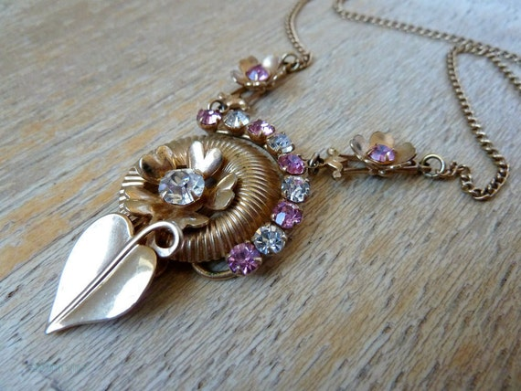 Vintage 1940s Rhinestone necklace Retro leaves and flowers Pink rhinestone jewelry