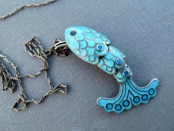 Back to School Sale Vintage Margot de Taxco Fish Necklace Sterling and Enamel STUDIO Collection OOAK