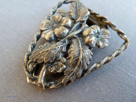 Back to School Sale Vintage 1930s Dress Clip Brass Leaves Flowers Art Nouveau