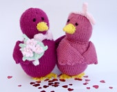 Lovebirds plush, pink with flowers, handknit