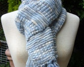 Scarf and matching mittens in blue and cream hand knit,