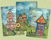 ACEO Prints Set of 3 Whimsical Houses - Miniature Art Prints