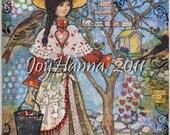 "Feed the Birds 5x7"" Art Print from Mixed Media Original - girl birdfeeder hearts song lyrics gift for gardener"