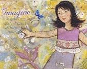 She Forgot Her Insecurities .. Imagine .. 5x7 art print from mixed media original .. dancing girl .. purple yellow