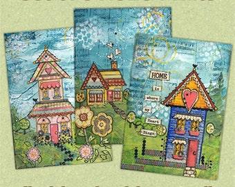 ACEO Prints Set of 3 Whimsical Houses - Miniature Art Prints