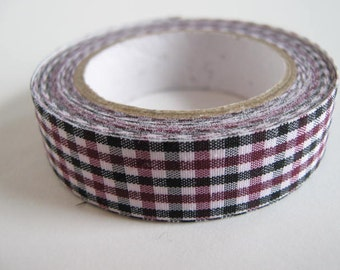 Gingham fabric tape, Plum/Black