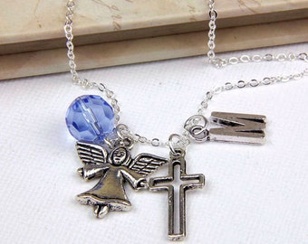 Personalized Angel Necklace with Your Initial and Birthstone -SP02