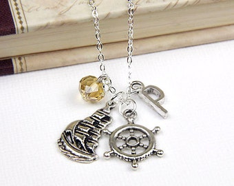 Personalized Nautical Necklace with Your Initial and Birthstone - SP10