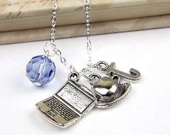 Personalized Computer Necklace with Your Initial and Birthstone - SP30
