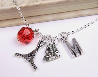 Personalized Hockey Necklace with Your Initial and Birthstone - SP133
