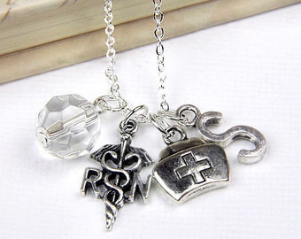 Personalized Nurse Necklace with Your Initial and Birthstone - SP153