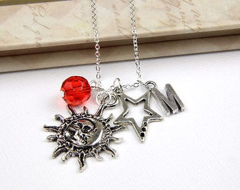 Personalized Celestial Necklace with Your Initial and Birthstone - SP194