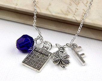 Personalized Bingo Necklace with Your Initial and Birthstone - SP210