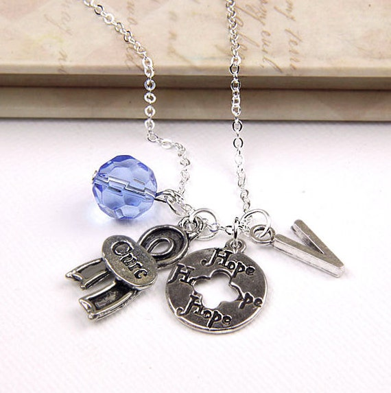 Personalized Awareness Necklace Hope for the Cure with Your Initial and Birthstone - SP39