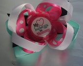 "Bottle cap Boutique Bow ""My heart belongs to Mommy"""