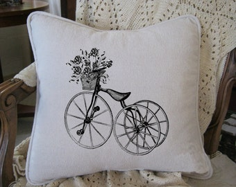 Vintage Tricycle with Flower Basket Black & White Etching on Cotton 16x16 Pillow Cover