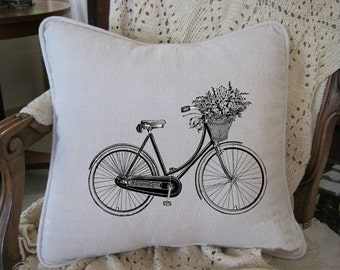 Vintage Bicycle with Flower Basket Black & White Etching on Cotton Canvas 16x16 Pillow Cover