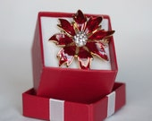 Vintage Red and Gold Enamel With Rhinestone Poinsettia Brooch Pin