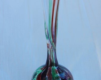 Hand blown clear glass budvase with green, purple, and red mitochondrial murrini
