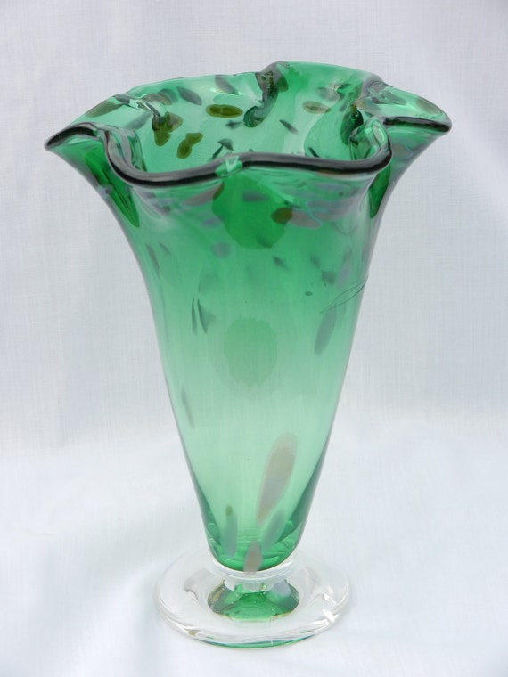 Hand blown green glass vase with ruffled edge