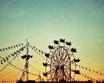 sunset, blue, golden, ferris wheel, Summer, Carnival, fine art photography
