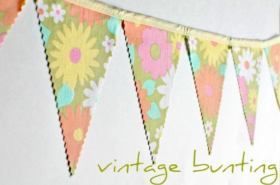 Happy - Vintage Floral Bunting Banner with 16 Flags
