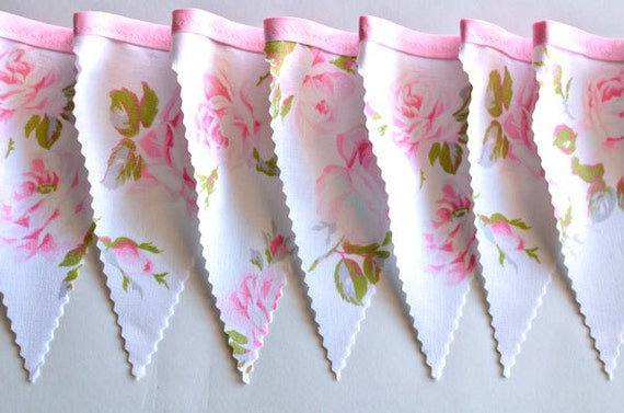 Pink Rose - Vintage Floral Bunting Banner with 12 Flags