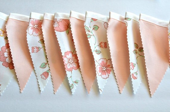 Soft Vintage Peach - Bunting Banner with 12 Flags