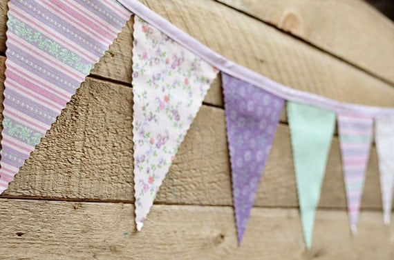 Spring - Vintage Bunting Banner with 12 Flags