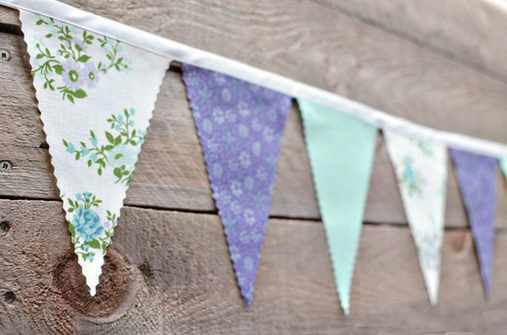 Aqua Violet - Vintage Bunting Banner with 12 Flags