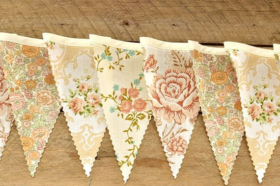 English Garden - Vintage Bunting Banner with 12 Flags