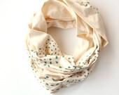 Organic Infinity Scarf - Screen Printed Teal on Natural