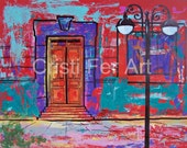 """Red painting, Mexican town, Mexican architecture, Mexican Doors, original art home decor, by Cristi Fer, 19.5""""x25.5"""""""