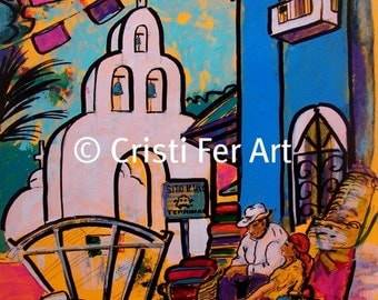 Original art Playa del Carmen Mexican Market at the White Church people in small town acrylic painting on paper