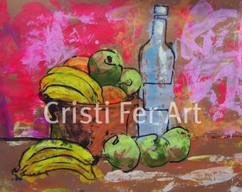 SALE Art Original painting decor fruit bowl Mexican style painting acrylic on paper 19.5  x 25.5""