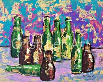 Art sale Still Life Mexican Painting green bottles impressionistic art original painting acrylic on paper 19.5x25.5