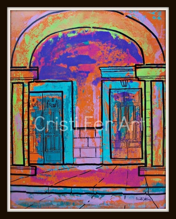 """Vibrant colors of Mexico, doors under arches in Merida, small town, original painting acrylic on paper by Cristi Fer, 19""""x25"""" pcfteam"""