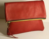 Leather Bag - Red fold-over zipper clutch - Small