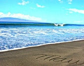 Writing in the Sand 5x7 Maui Hawaii Beach Surf Maui Photo Vacation Invitation Announcement Photography Written in the Sand by Crafty Kai