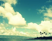 Maui Landscape photograph Beach Photo 8x10 Palm Trees Ocean Clouds Big Sky Tropical Wall Art  Fine Art Photograph  Home Decor by Crafty Kai