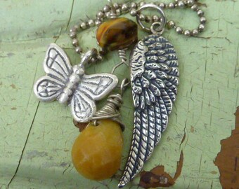 Wings..ANGEL WING and BUTTERFLY sterling  Sundance Style  necklace