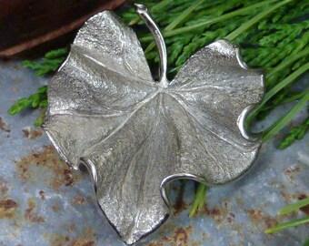 VINTAGE NAPIER STERLING signed leaf pin
